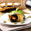 Royalty-Free Stock Photo: Rolled eggplant stuffed with pasta
