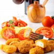 Chicken nuggets on dish — Stock Photo