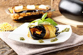 Rolled eggplant stuffed with pasta — Stock Photo