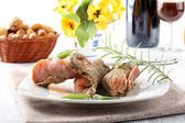 Meat rolls with salami and cheese — Stock Photo