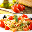 Royalty-Free Stock Photo: Spaghetti with fresh tomatoes, olives and mint