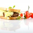 Hamburger with meat, lettuce and tomato — Stock Photo