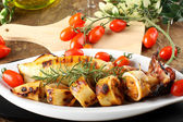Squid stuffed with bread crumbs and tomatoes — Stock Photo
