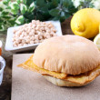 Sandwich with panelle - Stock Photo