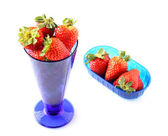 Cup with fresh strawberries — Stock Photo