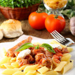 Pasta with tomato, sausage and ricotta — Stock Photo #19469357