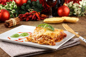Lasagna with tomato and bechamel sauce — Stock Photo