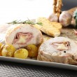 Stock Photo: Roulade of stuffed chicken with potatoes and rosemary