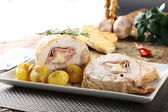 Roulade of stuffed chicken with potatoes and rosemary — Stock Photo