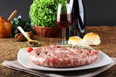 Sicilian raw sausage with pepper and rosemary — Stock Photo
