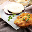 Eggplant cutlet  with beaten egg and breadcrumbs — Stock Photo