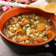 Bean soup in earthenware bowl — Stock Photo