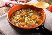 Bean soup in earthenware bowl — Stock Photo