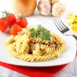 Stock Photo: Fusilli pastwith meat sauce