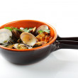 图库照片: Fresh clams in pot