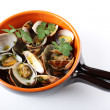 Fresh clams in the pot — Stock Photo