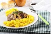 Marrowbone with saffron rice — Stock Photo