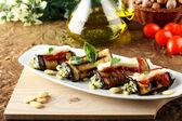 Eggplant rolls stuffed with almond pesto — Stock Photo