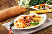 Bucatini all'amatriciana, with bacon, tomato and cheese — Stock Photo
