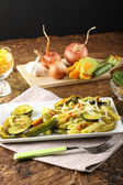 Pasta with zucchini flowers fresh — Stock Photo