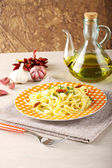 Pasta with garlic, oil and chilli — Stock Photo