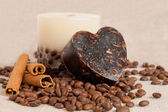 Aroma handmade soap and candle with cinnamon sticks and coffee b — Stock Photo