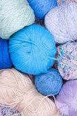 Multicolored bright balls of yarn — Stock Photo