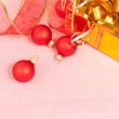 Christmas Decoration on a red background — Stock Photo