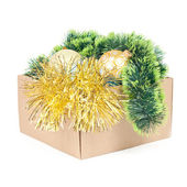 Box with decorations for Christmas tree isolated on white — Zdjęcie stockowe