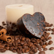 Aroma handmade soap and candle and coffee beans — Stock Photo #17142863