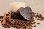 Aroma handmade soap and candle and coffee beans — Stock Photo