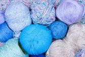 Multicolored bright balls of yarn closeup — Stock Photo