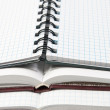 Stock Photo: Three open notebooks close up