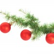 Red Christmas balls isolated on white — Stock Photo #7931875