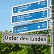 Unter den Linden, Berlin, touristic road sign - Stock Photo