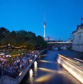 Strand bar on Spree river, Berlin at night — Stock Photo