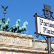 Stock Photo: Pariser Platz sign, Brandenburg gate, Berlin