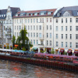 Bar and restaurants on Spree river, Berlin — Stock Photo
