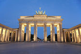 Puerta de brandenburgo en la noche, berlín, alemania — Foto de Stock