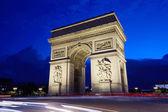 Triumfbågen i paris på natten, Frankrike — Stockfoto