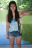 Girl Holding a Largemouth Bass — Stock Photo