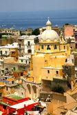 Corricella closeup iglesia - procida, hermosa isla en el med — Foto de Stock