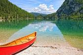 Lake Lago di Braies with canoe in Dolomiti Mountains - Italy Eur — Stock Photo