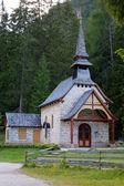 Church on lake Lago di Braies in Dolomiti Mountains - Italy Euro — Stock Photo