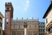 Verona Italy piazza delle Erbe the lion of saint Mark symbol of — Stock Photo