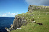 View of Neist Point and rocky ocean coastline, Highlands of Scotland, UK, Europe — Stockfoto
