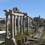 Ancient Ruins of Imperial Forum in Rome, via dei Fori Imperiali — Stock Photo