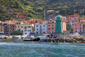 Boats in the small harbor of Giglio Island, the pearl of the Mediterranean Sea, Tuscany - Italy — Stock Photo