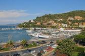 "Boats in the small harbor of ""Porto Santo Stefano"", the pearl of the Mediterranean Sea, Tuscany - Italy — Stock Photo"