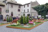 "Exhibition ""San Pellegrino in Fiore in Viterbo."" The event in San Pellegrino in Fiore sees the historic city of Viterbo — Stock Photo"
